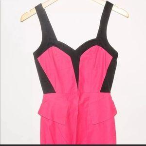 Bebe hot pink& black mini sheath dress Size 0